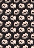 Nahtloses Muster mit Drucken eines Lippenstiftkusses Lizenzfreies Stockfoto