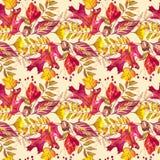Nahtloses Muster mit Eicheln und Herbsteiche verlässt in Orange, in Beige, in Braunem und in Gelbem Vervollkommnen Sie für Tapete Lizenzfreies Stockbild