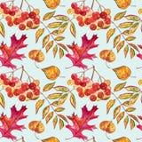 Nahtloses Muster mit Eicheln und Herbsteiche verlässt in Orange, in Beige, in Braunem und in Gelbem Vervollkommnen Sie für Tapete Lizenzfreie Stockfotos