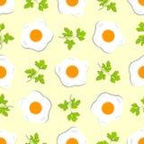 Nahtloses Muster mit Eiern und Zweigen der Petersilie Lizenzfreie Stockfotos