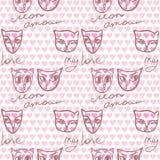 Nahtloses Muster mit ein paar Katzen in der Liebe und in den Aufschriften Stockfotos