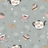 Nahtloses Muster mit einem Kessel, Schalen, Kuchen, Brezeln, Blumen Stockfotografie