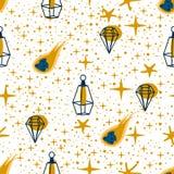 Nahtloses Muster mit einem Lampensternkometen auf einem weißen Hintergrund - Vektorillustration, ENV stock abbildung