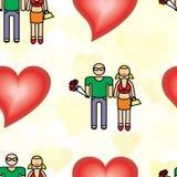 Nahtloses Muster mit einem Mann und einer Frau mit einem Blumenstrauß von Blumen Stockbilder