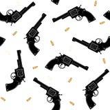 Nahtloses Muster mit einem Schattenbild von Kugeln einer schwarzen Pistole und des Goldes auf einem weißen Hintergrund Vektor Lizenzfreies Stockfoto