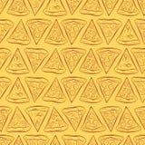 Nahtloses Muster mit einem Stück Pizza Stockfotografie
