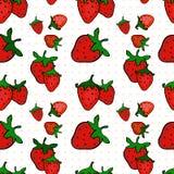 Nahtloses Muster mit einer Erdbeere Lizenzfreies Stockfoto