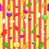 Nahtloses Muster mit Eiscreme Stockfoto