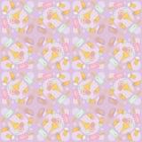 Nahtloses Muster mit Eiscreme auf Purpur Vektor Abbildung
