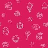 Nahtloses Muster mit Eiscreme, Torte und kleinen Kuchen Stockfotografie