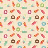 Nahtloses Muster mit Eiscreme und bunten geschmackvollen Schaumgummiringen und Eiscreme Lizenzfreie Stockfotografie