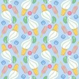 Nahtloses Muster mit Eiscreme und Süßigkeit Vektor Abbildung