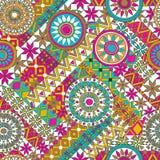Nahtloses Muster mit Elementen der Mandala Ethnische Bänder Boho Stammes- Artdesign Lizenzfreies Stockfoto