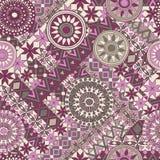 Nahtloses Muster mit Elementen der Mandala Ethnische Bänder Boho Stammes- Artdesign Stockfotografie
