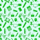 Nahtloses Muster mit Elementen des Büroartikels Stockbilder