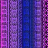 Nahtloses Muster mit Elementen des Schädels Ethnische Bänder Boho Stammes- Artdesign Lizenzfreie Stockfotografie