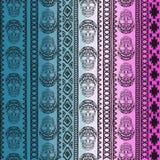 Nahtloses Muster mit Elementen des Schädels Ethnische Bänder Boho Stammes- Artdesign Lizenzfreie Stockbilder