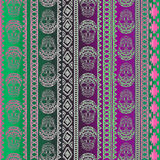 Nahtloses Muster mit Elementen des Schädels Ethnische Bänder Boho Stammes- Artdesign Stockbild
