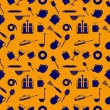 Nahtloses Muster mit Elementen von den Küchengeräten blau Stockfotos