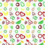 Nahtloses Muster mit Elementen von Früchten Stockfotografie