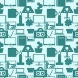 Nahtloses Muster mit Elementen von Haushaltsartikeln im Blau Lizenzfreies Stockbild