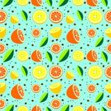 Nahtloses Muster mit Elementen von Zitrusfrüchten Stockbilder
