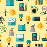 Nahtloses Muster mit Energieikonen im flachen Design Lizenzfreie Stockfotos
