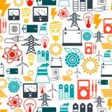 Nahtloses Muster mit Energieikonen im flachen Design Stockfotos