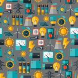 Nahtloses Muster mit Energieikonen im flachen Design Lizenzfreies Stockbild