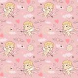Nahtloses Muster mit Engel und Amoren Valentinsgruß ` s Tag Lizenzfreies Stockfoto