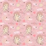Nahtloses Muster mit Engel und Amoren Valentinsgruß ` s Tag Stockbild