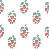 Nahtloses Muster mit Erdbeerb?schen in der Karikaturart auf wei?em Hintergrund Rote Erdbeeren und Gr?n-Bl?tter vektor abbildung