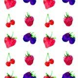 Nahtloses Muster mit Erdbeere, Himbeere, Brombeere, Kirsche, Beere mit Flecken und Flecken auf einem weißen Hintergrund Aquarellk stock abbildung