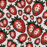 Nahtloses Muster mit Erdbeere, Vektorillustration stockfoto