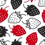 Nahtloses Muster mit Erdbeeren Kontrast - schwarz, weiß und rot, Schattenbild und Linie graphik Hand gezeichnet Lizenzfreies Stockbild