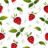 Nahtloses Muster mit Erdbeeren und Blättern Stockbild