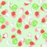 Nahtloses Muster mit Erdbeeren und Süßigkeiten Stockbild