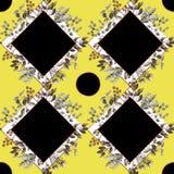 Nahtloses Muster mit Eukalyptus, Magnolienblättern, Succulents und goldenen Rahmen Geometrischer und botanischer Vektorhintergrun lizenzfreie abbildung