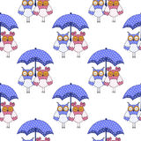 Nahtloses Muster mit Eulen in der Liebe und im Regenschirm Stockfoto