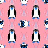 Nahtloses Muster mit Eulen und Pinguinen Lizenzfreies Stockfoto