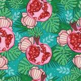 Nahtloses Muster mit exotischem Granatapfel, Palmblättern und Blumen Tropisches Muster für Gewebe, Fahnen, Karte Stockfotografie