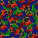 Nahtloses Muster mit exotischen Blumen auf blauem Hintergrund Lizenzfreie Stockfotografie