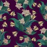 Nahtloses Muster mit exotischen gelben Blumen auf Rot Lizenzfreies Stockbild