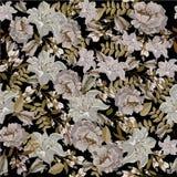 Nahtloses Muster mit exotischen gelben Blumen auf Schwarzem Lizenzfreies Stockbild