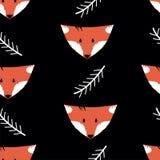 Nahtloses Muster mit Füchsen und den Zweigen auf einem schwarzen Hintergrund lizenzfreie abbildung