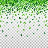 Nahtloses Muster mit fallenden Blättern des Shamrockklees auf transparentem Hintergrund Stockbild