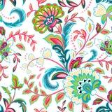 Nahtloses Muster mit Fantasie blüht, natürliche Tapete, Blumendekorationslockenillustration Paisley-Druckhand gezeichnet stock abbildung