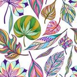 Nahtloses Muster mit farbigem abstraktem Blatt Vector Abbildung, EPS10 Lizenzfreies Stockbild