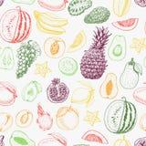 Nahtloses Muster mit farbigen Früchten auf weißem Hintergrund vektor abbildung