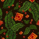 Nahtloses Muster mit Farnblättern und geometrischen Elementen lizenzfreie abbildung